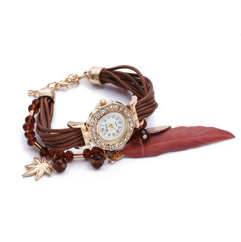 Shops FULAIDA Women Quartz Watch Rhinestone Feather Decoration Bangle Wristwatch BROWN
