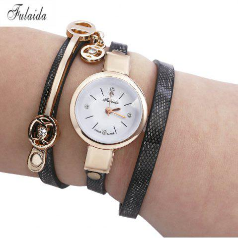 FULAIDA Women Quartz Watch Rhinestone Leather Band Bangle Fashion Wristwatch - Black