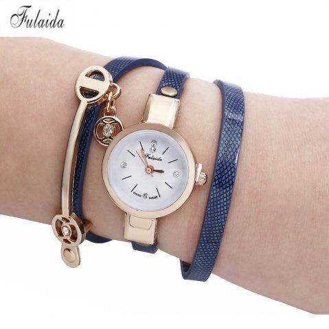 Shop FULAIDA Women Quartz Watch Rhinestone Leather Band Bangle Fashion Wristwatch