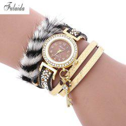 FULAIDA Female Quartz Watch Feather Band Fashion Bangle Wristwatch