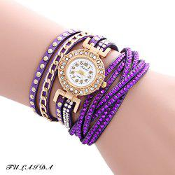 Fulaida Quartz Leather Band Female Rhinestone Watch  Fashion Bracelet Wristwatch - PURPLE