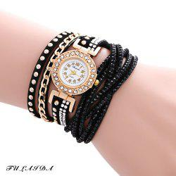 Fulaida Quartz Leather Band Female Rhinestone Watch  Fashion Bracelet Wristwatch - BLACK