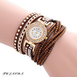 Fulaida Quartz Leather Band Female Rhinestone Watch  Fashion Bracelet Wristwatch - COFFEE