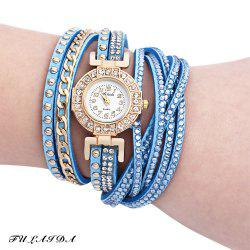 Fulaida Quartz Leather Band Female Rhinestone Watch  Fashion Bracelet Wristwatch - AZURE