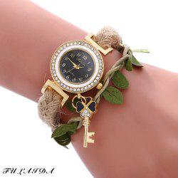 Fulaida Female Bohemia Type Rhinestone Dial Petal Pattern Watch Women Hand Decoration - BLACK