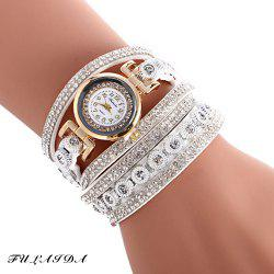 FULAIDA Female Quartz Watch Rhinestone Leather Band Fashion Bangle Wristwatch - WHITE