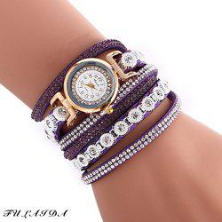 FULAIDA Female Quartz Watch Rhinestone Leather Band Fashion Bangle Wristwatch