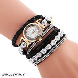 FULAIDA Female Quartz Watch Rhinestone Leather Band Fashion Bangle Wristwatch - BLACK