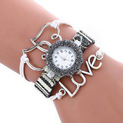 Female Quartz Watch Rhinestone Love Decoration Leather Band Fashion Bangle Wristwatch - WHITE