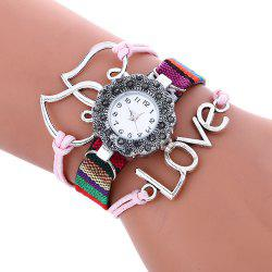 Female Quartz Watch Rhinestone Love Decoration Leather Band Fashion Bangle Wristwatch - PINK