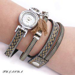 FULAIDA Women Quartz Watch Leather Band Rhinestone Tassel Decoration Wristwatch -