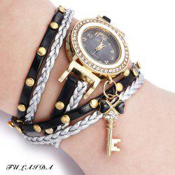 FULAIDA Women Quartz Watch Leather Band Rhinestone Bracelet Wristwatch
