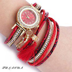 FULAIDA Women Quartz Watch Leather Band Tassel Decoration Rhinestone Wristwatch