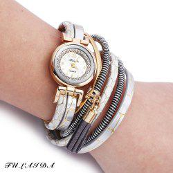 FULAIDA Women Quartz Watch Rhinestone Tassel Decoration Leather Band Wristwatch - GRAY