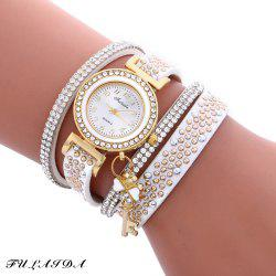 Fulaida Quartz Female Rhinestone Watch Leather Band Hand Decoration Wristwatch - WHITE