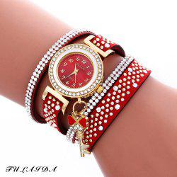 Fulaida Quartz Female Rhinestone Watch Leather Band Hand Decoration Wristwatch