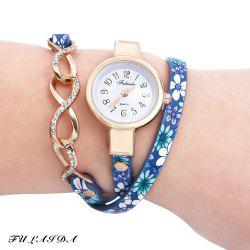 FULAIDA Chic Female Quartz Watch Rhinestone Leather Band Fashion Bangle Wristwatch - BLUE