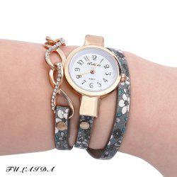 FULAIDA Chic Female Quartz Watch Rhinestone Leather Band Fashion Bangle Wristwatch - GRAY