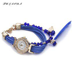 FULAIDA Women Quartz Watch Rhinestone Feather Decoration Bangle Wristwatch -
