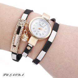 FULAIDA Women Quartz Watch Leather Band Bangle Fashion Wristwatch - BLACK