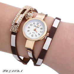 FULAIDA Women Quartz Watch Leather Band Bangle Fashion Wristwatch - BROWN