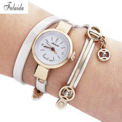 FULAIDA Women Quartz Watch Rhinestone Leather Band Bangle Fashion Wristwatch - WHITE