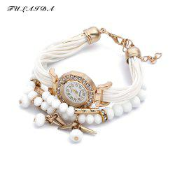 FULAIDA Female Quartz Watch Rhinestone Bangle Fashion Wristwatch - WHITE