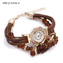 FULAIDA Female Quartz Watch Rhinestone Bangle Fashion Wristwatch -