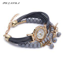 FULAIDA Female Quartz Watch Rhinestone Bangle Fashion Wristwatch - GRAY