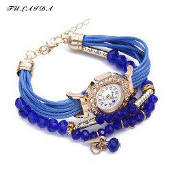 FULAIDA Female Quartz Watch Rhinestone Bangle Fashion Wristwatch - SAPPHIRE BLUE