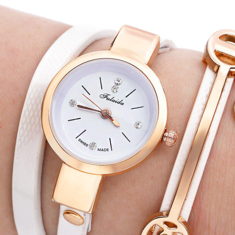 FULAIDA Women Quartz Watch Rhinestone Leather Band Bangle Fashion WristwatchJEWELRY<br><br>Color: WHITE; Band Length: 21.85 inch; Band Material Type: Leather; Band Width: 6mm; Case material: Alloy; Case Shape: Round; Dial Diameter: 1.11 inch; Dial Display: Analog; Dial Window Material Type: Glass; Gender: Women; Movement: Quartz; Style: Fashion &amp; Casual;