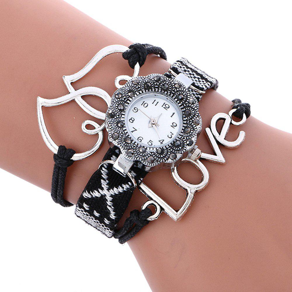 Female Quartz Watch Rhinestone Love Decoration Leather Band Fashion Bangle WristwatchJEWELRY<br><br>Color: BLACK; Band Length: 9.25 inch; Band Material Type: Leather; Band Width: 10mm; Case material: Alloy; Case Shape: Irregular Shape; Dial Diameter: 1.11 inch; Dial Display: Analog; Dial Window Material Type: Glass; Gender: Women; Movement: Quartz; Style: Fashion &amp; Casual;