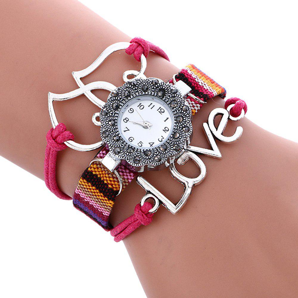 Female Quartz Watch Rhinestone Love Decoration Leather Band Fashion Bangle WristwatchJEWELRY<br><br>Color: ROSE RED; Band Length: 9.25 inch; Band Material Type: Leather; Band Width: 10mm; Case material: Alloy; Case Shape: Irregular Shape; Dial Diameter: 1.11 inch; Dial Display: Analog; Dial Window Material Type: Glass; Gender: Women; Movement: Quartz; Style: Fashion &amp; Casual;