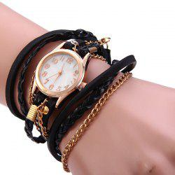 Women Vintage Weave Wrap Leather Bracelet Wrist Watch - BLACK