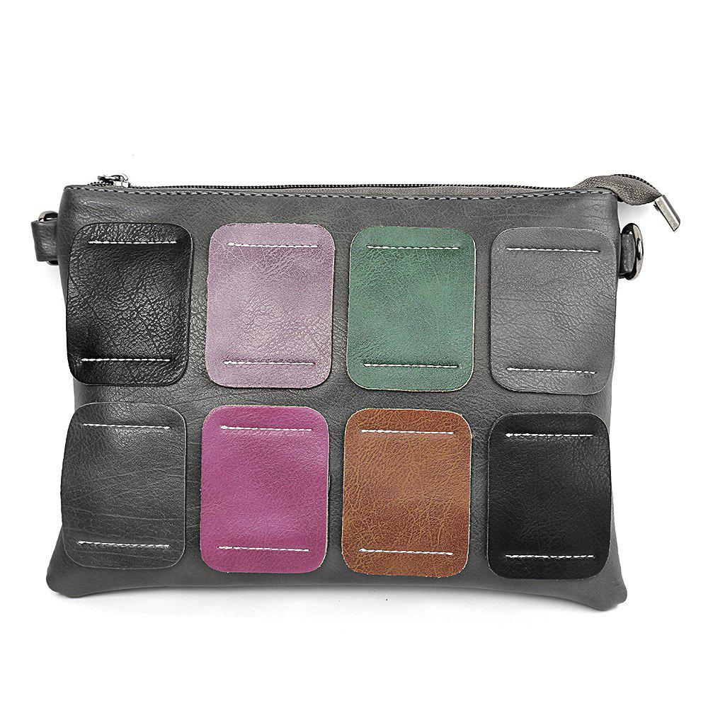 Fashion Guapabien Mixed Color Quadrate Patchwork Style Clutch Handbag Women Shoulder Bag