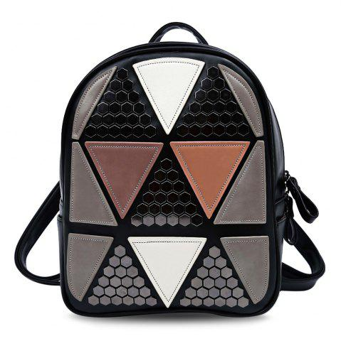 Sale Guapabien PU Leather Bag Triangular Applique Patch Style Backpack for Women