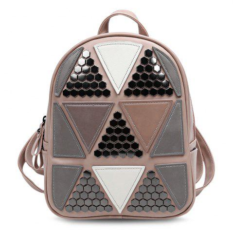 Trendy Guapabien PU Leather Bag Triangular Applique Patch Style Backpack for Women