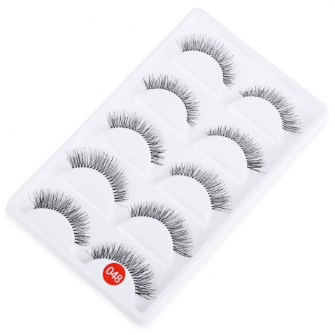 Buy 5 Pairs Hand Made Crossover Design Professional Thick Makeup Fake Eyelashes - Black