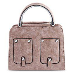 PU Leather Rivet Pocket Style Tote Pipe Handle Women Shoulder Bag