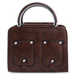 Guapabien PU Leather Rivet Pocket Style Tote Pipe Handle Women Shoulder Bag
