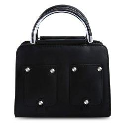Guapabien PU Leather Rivet Pocket Style Tote Pipe Handle Women Shoulder Bag - BLACK