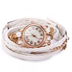 Women Vintage Weave Wrap Leather Bracelet Wrist Watch -