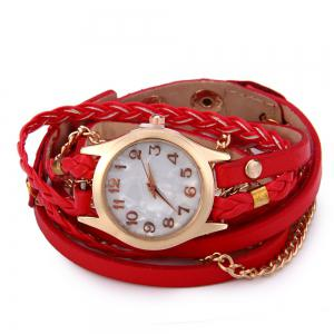 Women Vintage Weave Wrap Leather Bracelet Wrist Watch - RED