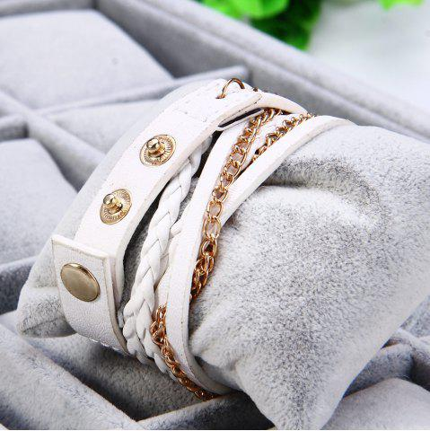 Outfit Women Vintage Weave Wrap Leather Bracelet Wrist Watch - WHITE  Mobile
