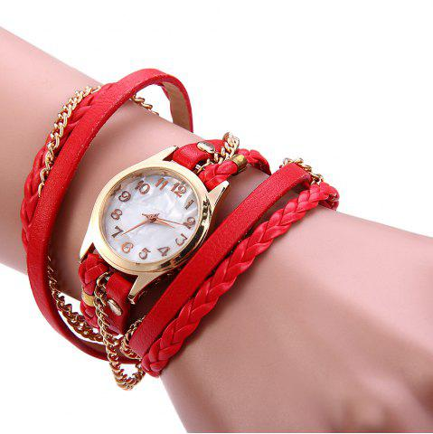 Shop Women Vintage Weave Wrap Leather Bracelet Wrist Watch