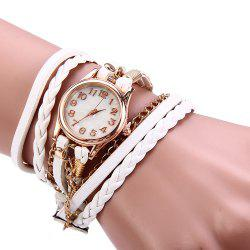 Women Vintage Weave Wrap Leather Bracelet Wrist Watch - WHITE