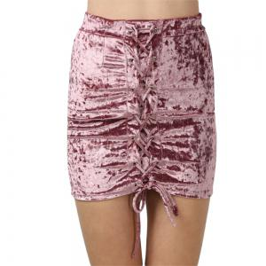 Crushed Velvet Lace Up Mini Skirt - HEATHER VIOLET XS