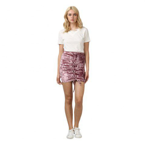 Fancy Crushed Velvet Lace Up Mini Skirt HEATHER VIOLET XS