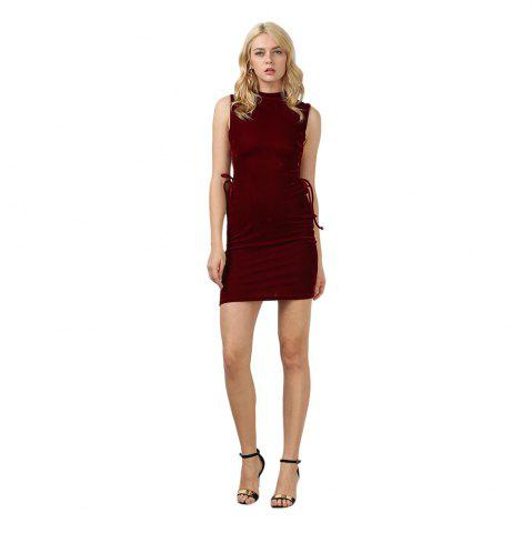 Sale Sexy Stand Collar Hollow Out Lace-up Zipper Velvet Dress for Women - XL PURPLISH RED Mobile
