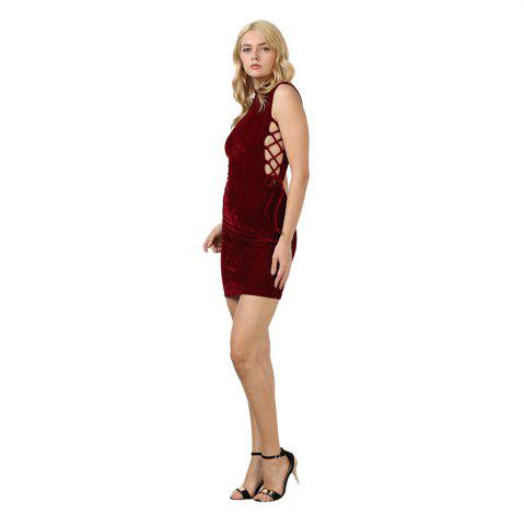 Trendy Sexy Stand Collar Hollow Out Lace-up Zipper Velvet Dress for Women - XL PURPLISH RED Mobile